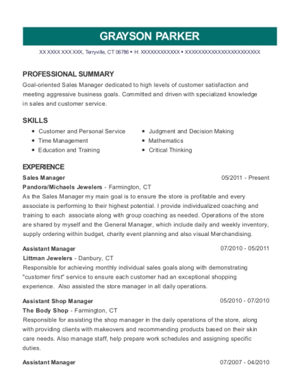 Sales Manager resume example Connecticut