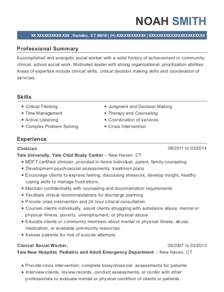 Clinician resume sample Connecticut