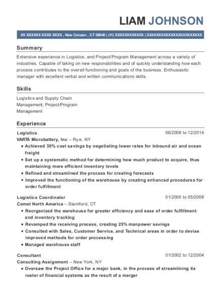 Logistics resume template Connecticut