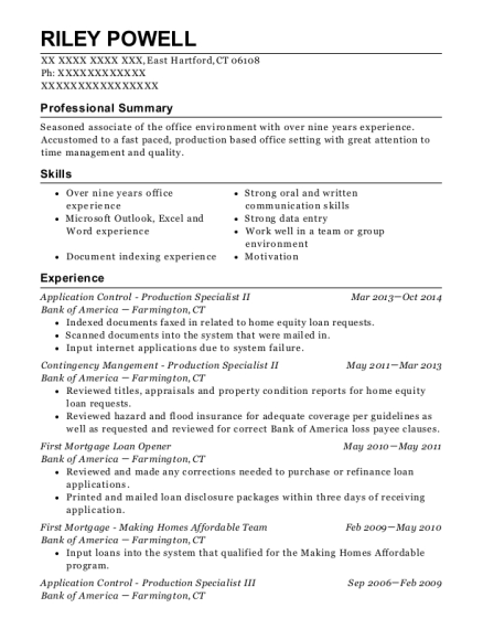 Application Control Production Specialist II resume example Connecticut