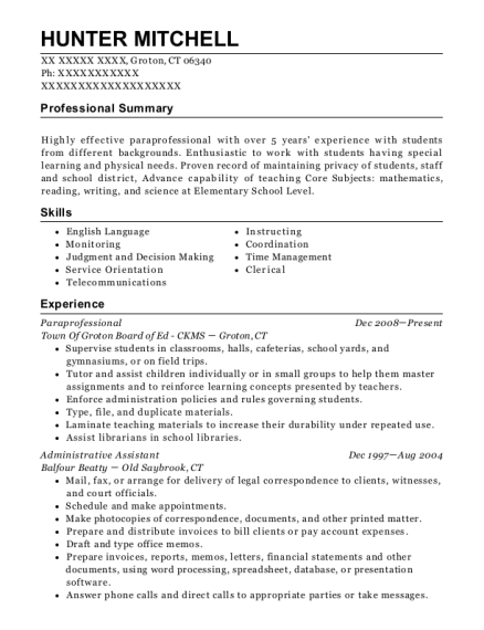 Paraprofessional resume example Connecticut