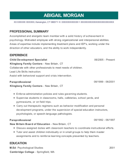 Child Development Specialist resume example Connecticut