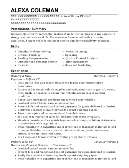 Delivery & Sales resume format Connecticut