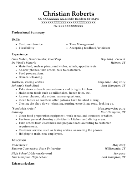 Pizza Maker resume format Connecticut