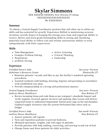 Certified Nurses Aide resume example Connecticut