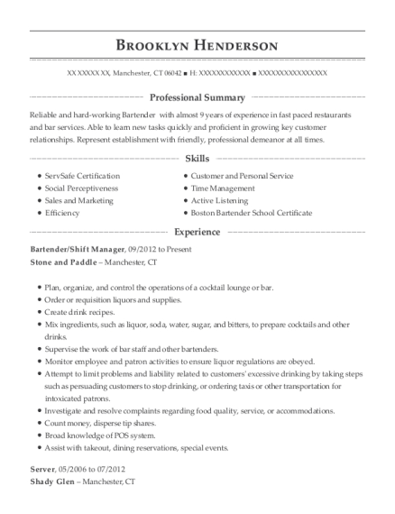 Bartender resume sample Connecticut