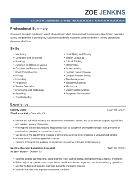 Security Guard resume sample Connecticut
