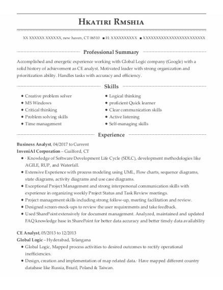 Business Analyst resume format Connecticut