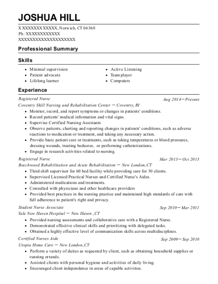 Registered Nurse resume format Connecticut