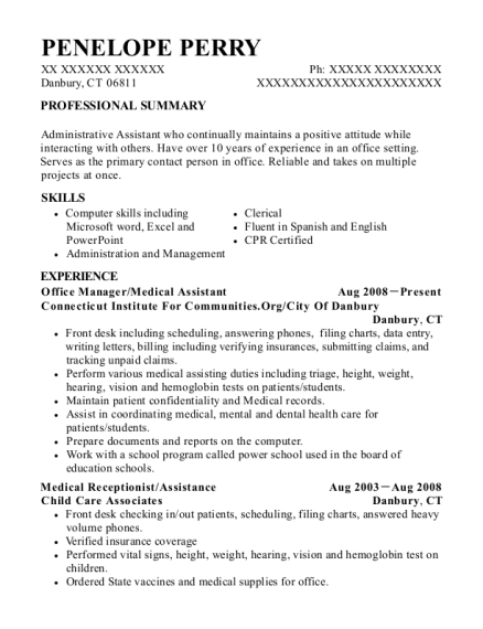 Office Manager resume example Connecticut