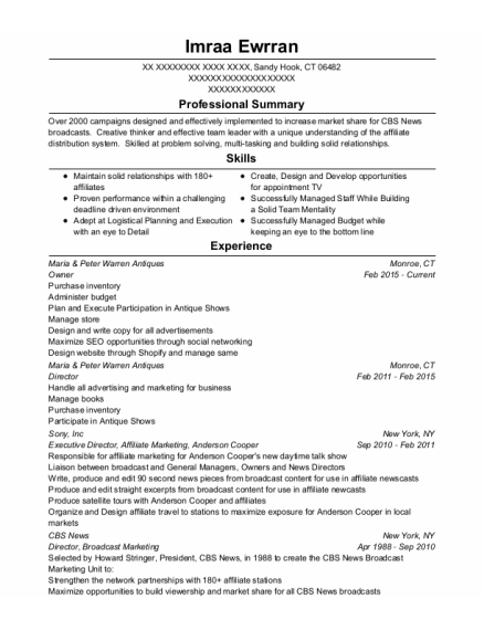 Owner resume example Connecticut
