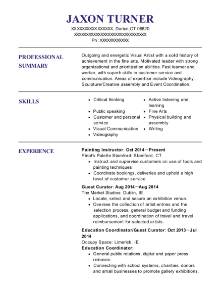 Painting Instructor resume sample Connecticut