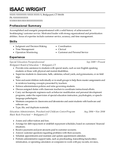 Special Education Paraprofessional resume template Connecticut