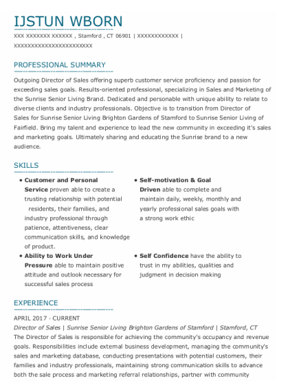 Director Of Sales resume format Connecticut