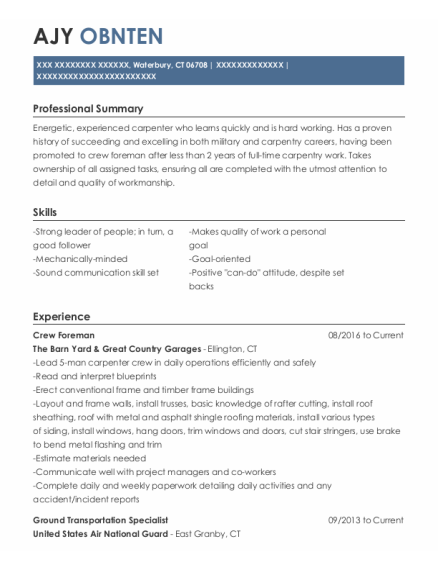 crew foreman resume format Connecticut