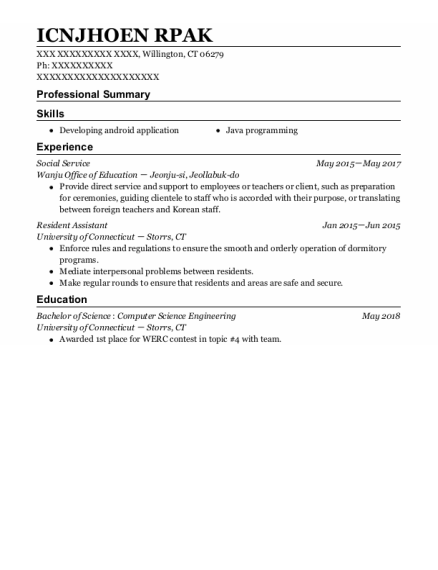 Social Services Assistant resume example Connecticut