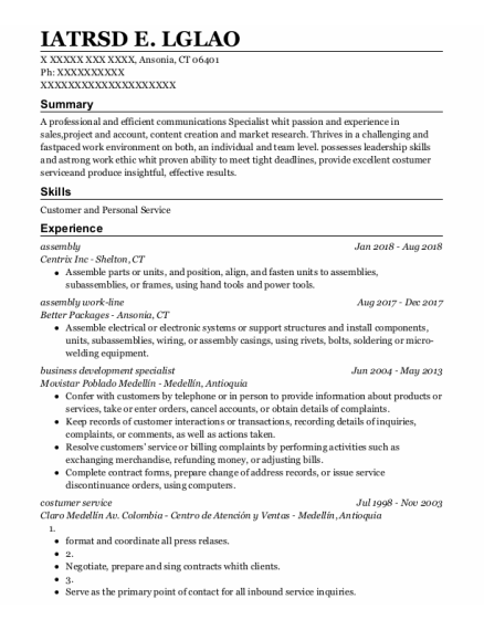 Assembly resume format Connecticut