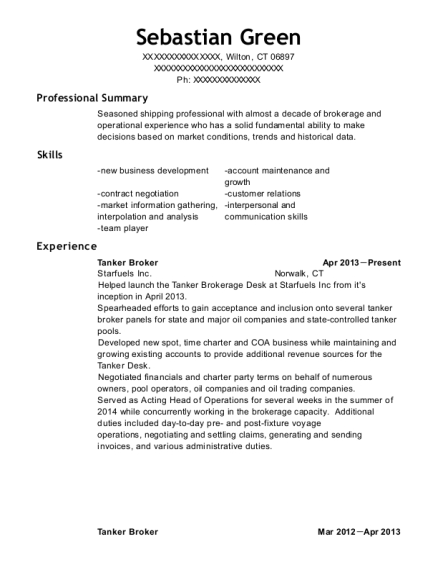 Tanker Broker resume example Connecticut