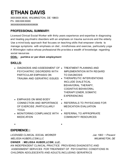 Licensed Clinical Social Worker resume template Delaware