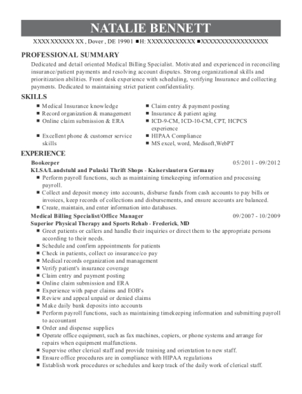 Bookeeper resume example Delaware