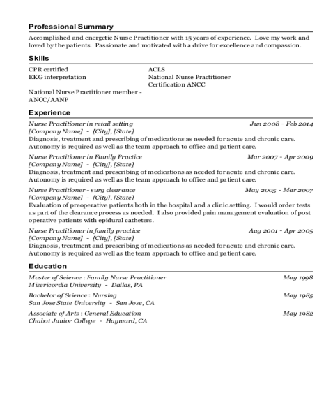 Nurse Practitioner in retail setting resume sample Delaware