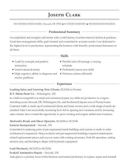 Leading Sales and Growing New Clients resume sample Delaware