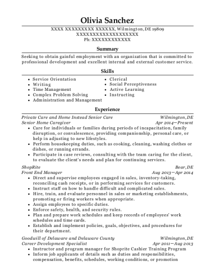 Senior Home Caregiver resume format Delaware