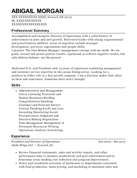 President and Director of Operations resume example Delaware
