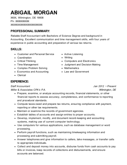 Staff Accountant resume template Delaware