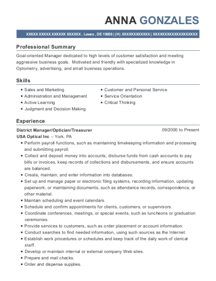 District Manager resume example Delaware