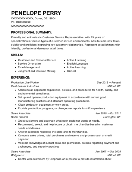 Production Line Worker resume template Delaware