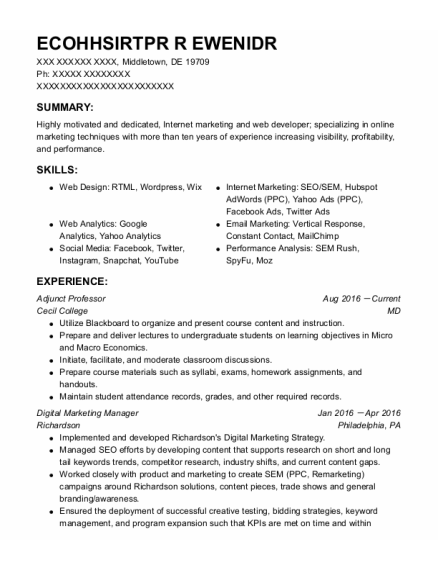 Adjunct Professor resume sample Delaware