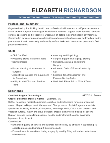 Certified Surgical Technologist resume format Delaware