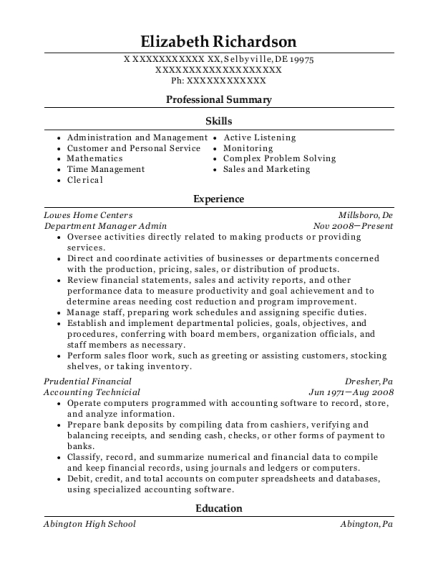 Department Manager Admin resume format Delaware