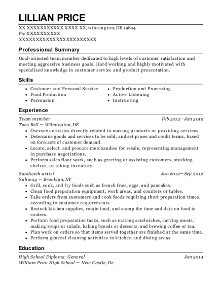 Team member resume sample Delaware
