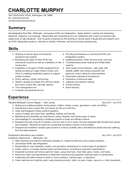 Refrigeration Mechanics and Installers resume template Delaware