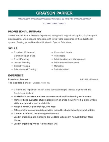 Preschool Teacher resume example Delaware