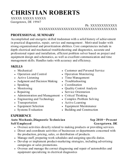 Auto Mechanic resume sample Delaware