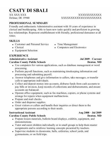 Administrative Assistant resume template Delaware