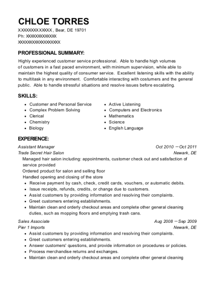 Assistant Manager resume example Delaware