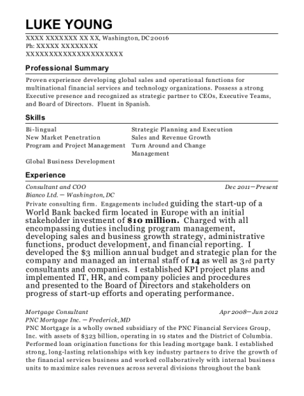 Consultant and COO resume sample District of Columbia