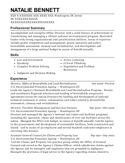 Director resume example District of Columbia