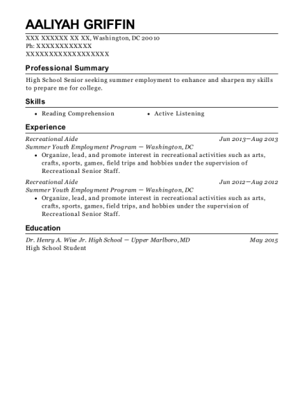 Recreational Aide resume format District of Columbia