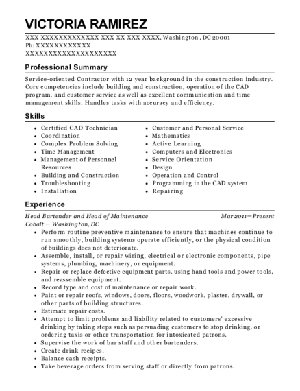 Head Bartender and Head of Maintenance resume example District of Columbia