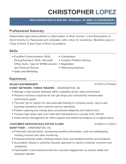 SALES LEAD MANAGER resume example District of Columbia