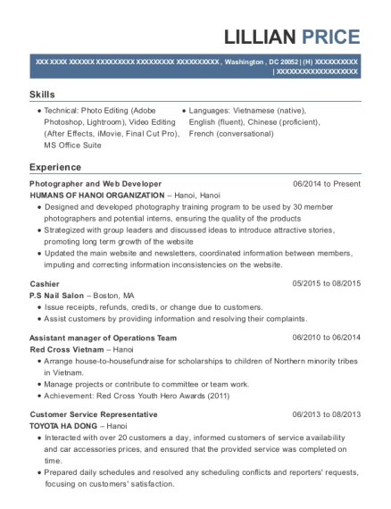 Photographer and Web Developer resume example District of Columbia