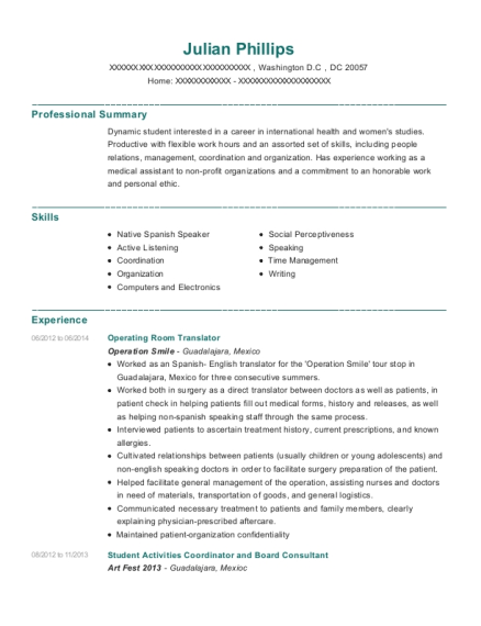 Operating Room Translator resume example District of Columbia