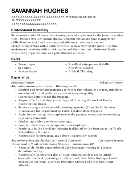 Program Director resume example District of Columbia