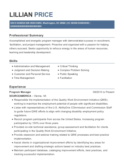 Program Manager resume template District of Columbia