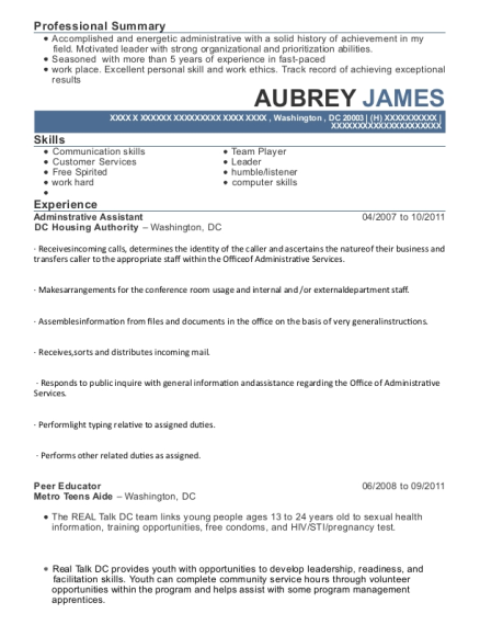 Adminstrative Assistant resume sample District of Columbia